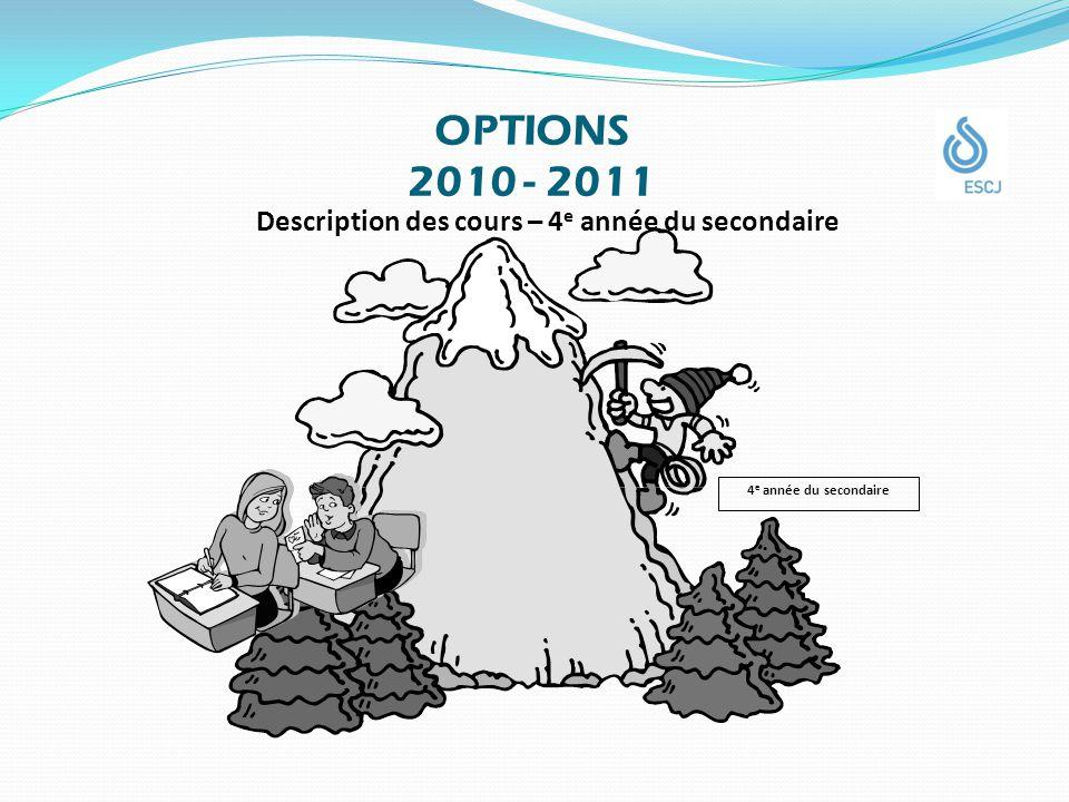 OPTIONS 2010 - 2011 Description des cours – 4 e année du secondaire 4 e année du secondaire