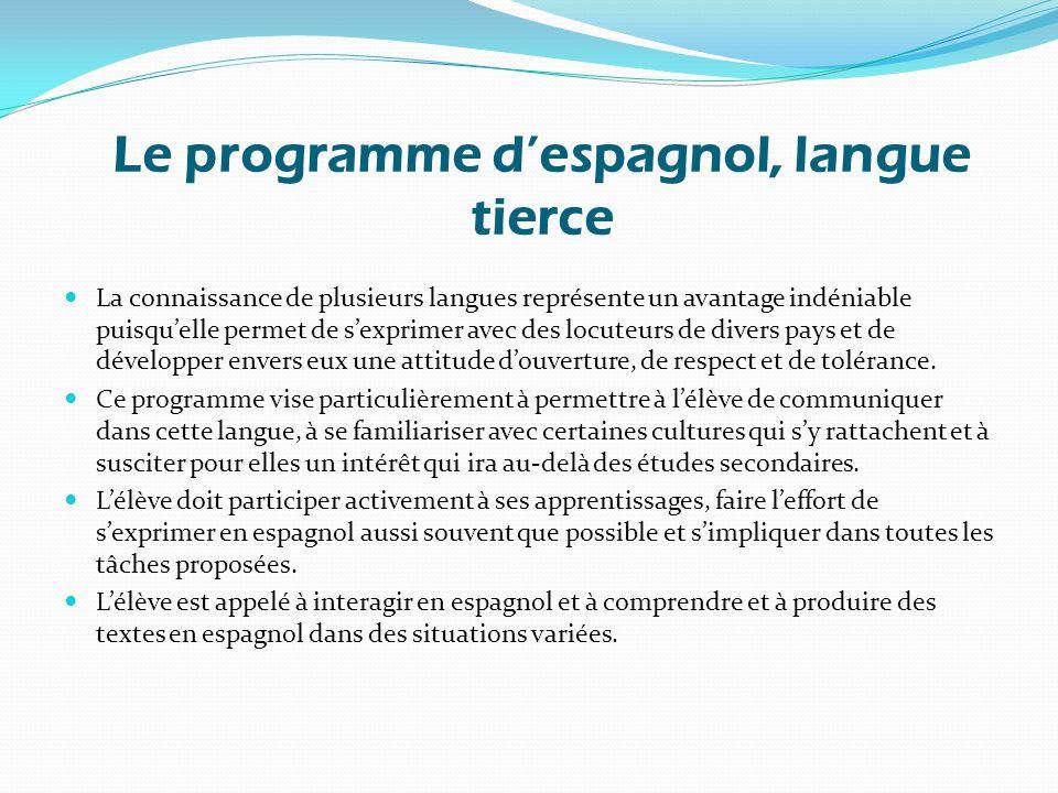 Le programme d'espagnol, langue tierce La connaissance de plusieurs langues représente un avantage indéniable puisqu'elle permet de s'exprimer avec des locuteurs de divers pays et de développer envers eux une attitude d'ouverture, de respect et de tolérance.