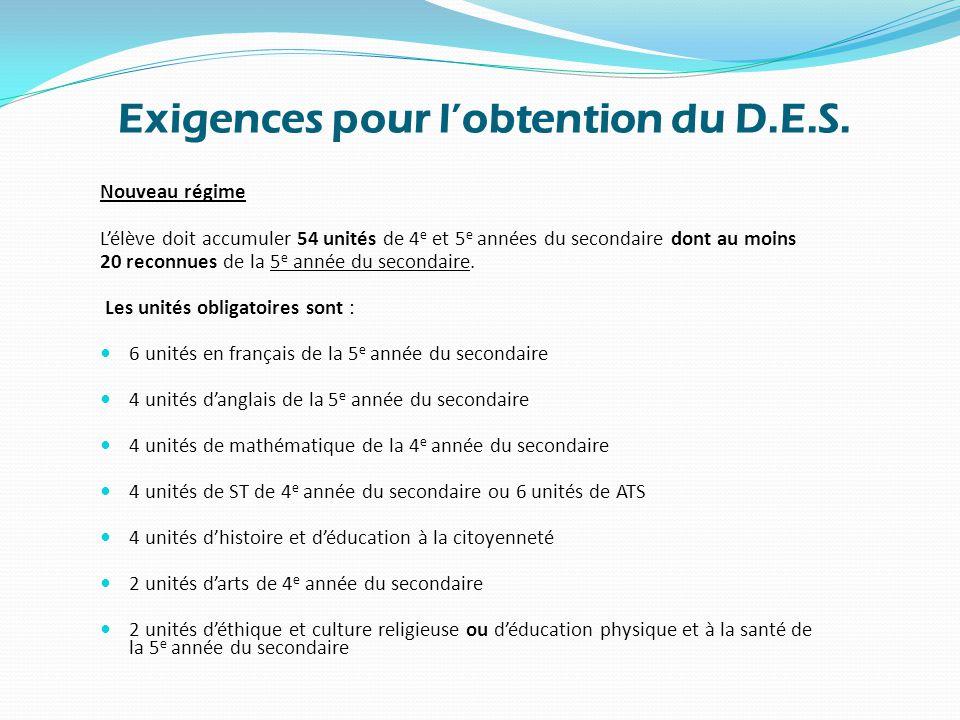 Exigences pour l'obtention du D.E.S.