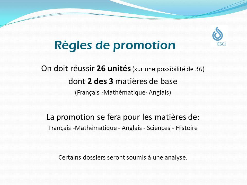 Règles de promotion On doit réussir 26 unités (sur une possibilité de 36) dont 2 des 3 matières de base (Français -Mathématique- Anglais) La promotion se fera pour les matières de: Français -Mathématique - Anglais - Sciences - Histoire Certains dossiers seront soumis à une analyse.