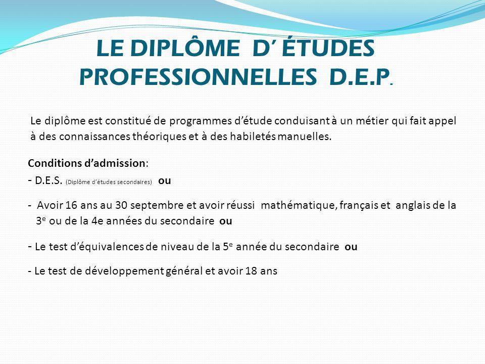 LE DIPLÔME D' ÉTUDES PROFESSIONNELLES D.E.P.