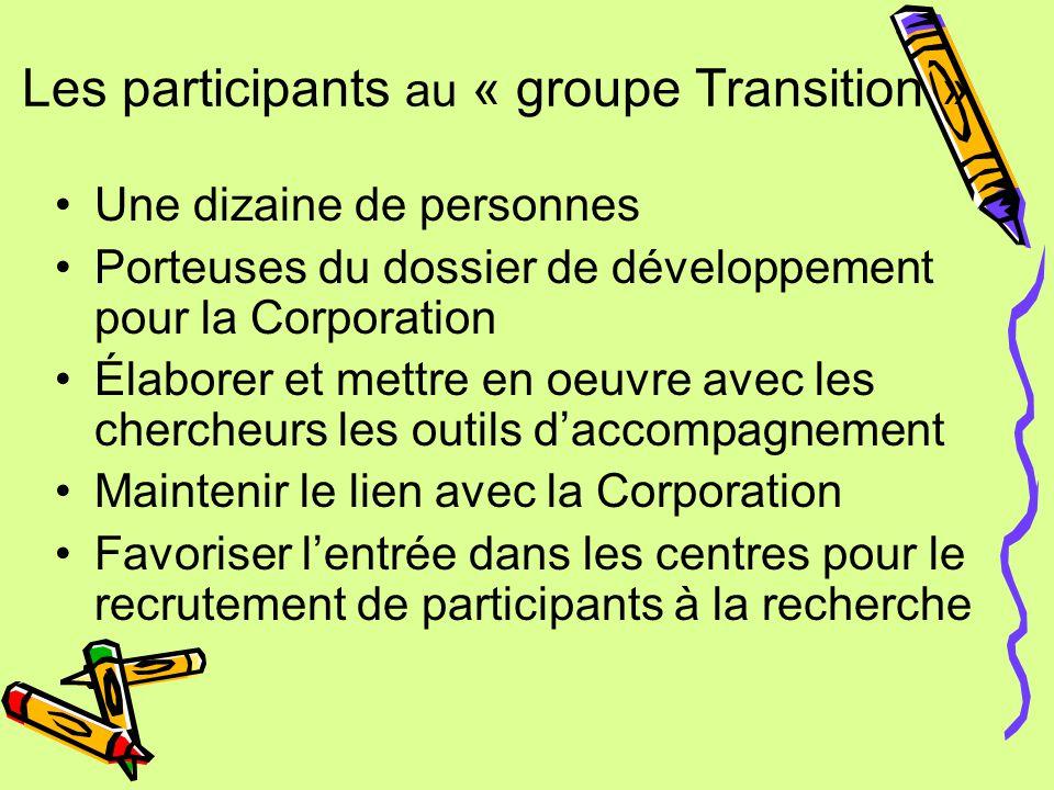 Les participants au « groupe Transition » Une dizaine de personnes Porteuses du dossier de développement pour la Corporation Élaborer et mettre en oeuvre avec les chercheurs les outils d'accompagnement Maintenir le lien avec la Corporation Favoriser l'entrée dans les centres pour le recrutement de participants à la recherche