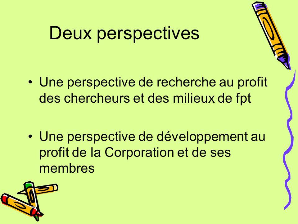 Deux perspectives Une perspective de recherche au profit des chercheurs et des milieux de fpt Une perspective de développement au profit de la Corporation et de ses membres