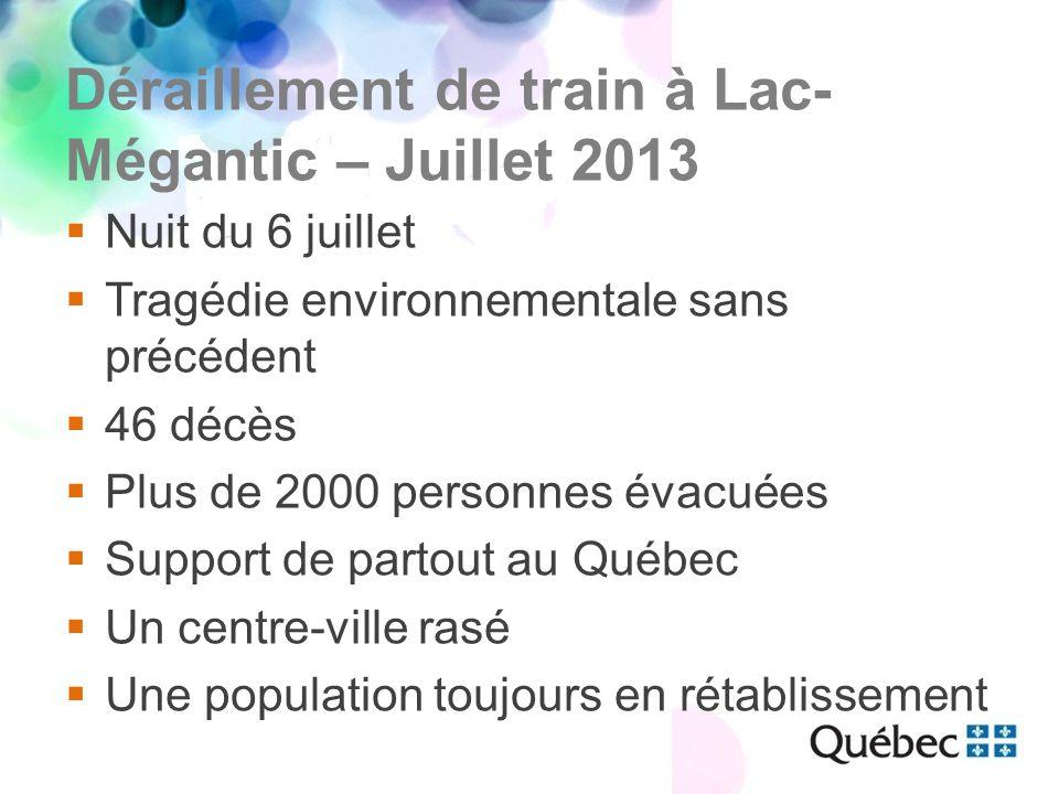 Déraillement de train à Lac- Mégantic – Juillet 2013  Nuit du 6 juillet  Tragédie environnementale sans précédent  46 décès  Plus de 2000 personnes évacuées  Support de partout au Québec  Un centre-ville rasé  Une population toujours en rétablissement