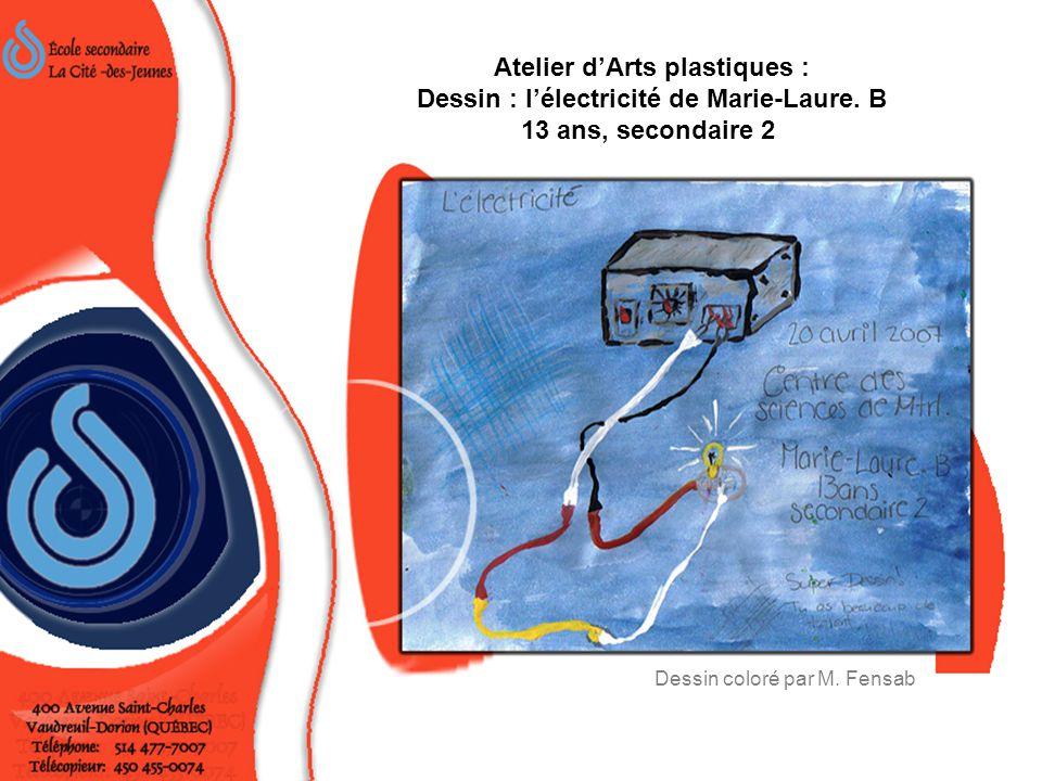 Atelier d'Arts plastiques : Dessin : l'électricité de Marie-Laure.