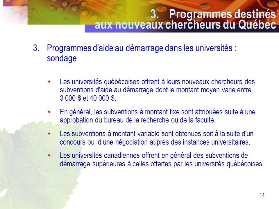14 3.Programmes d aide au démarrage dans les universités : sondage  Les universités québécoises offrent à leurs nouveaux chercheurs des subventions d aide au démarrage dont le montant moyen varie entre 3 000 $ et 40 000 $.