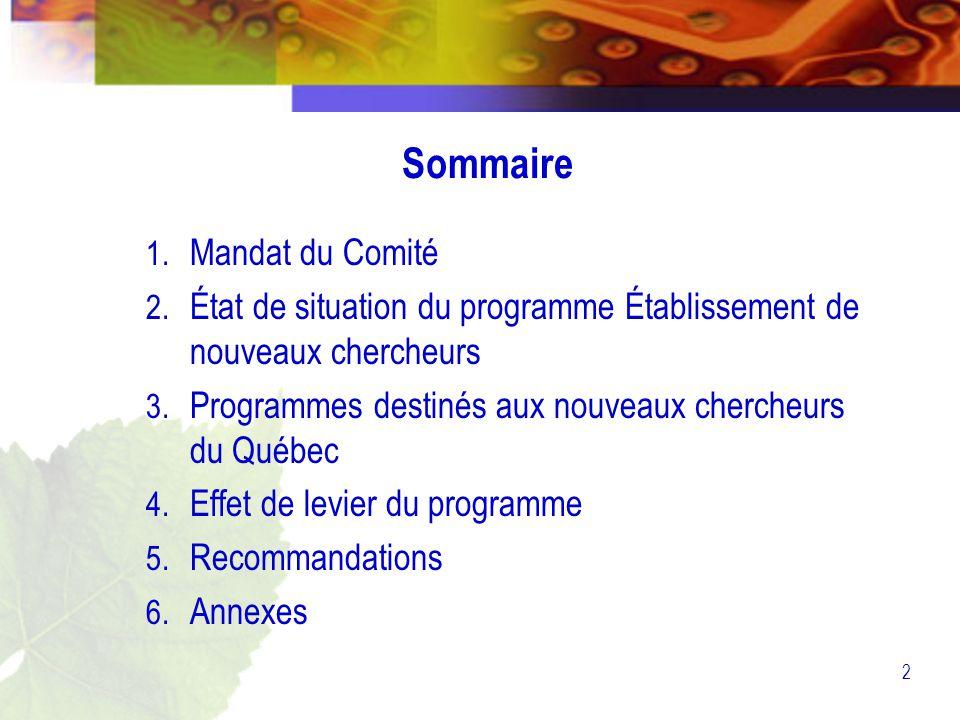 2 Sommaire 1. Mandat du Comité 2.