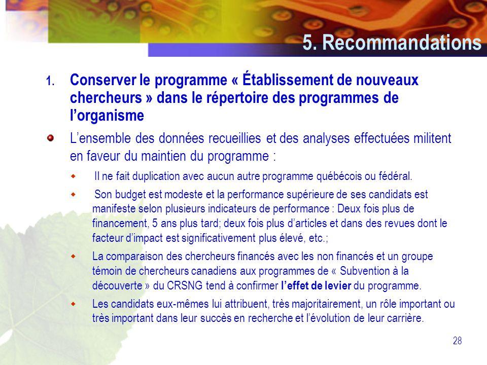 28 5. Recommandations 1.