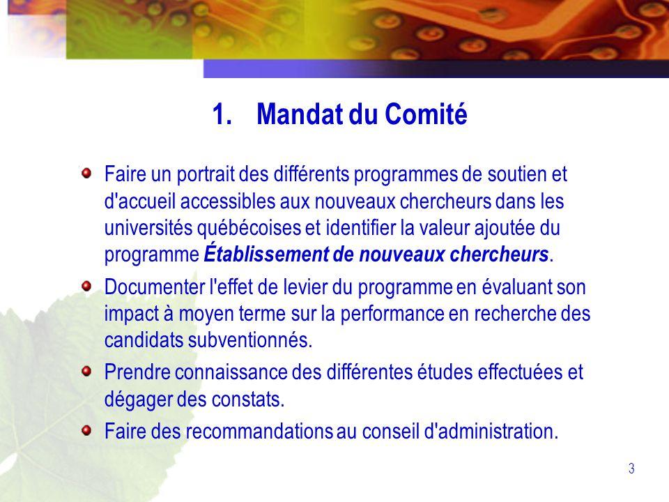3 1.Mandat du Comité Faire un portrait des différents programmes de soutien et d accueil accessibles aux nouveaux chercheurs dans les universités québécoises et identifier la valeur ajoutée du programme Établissement de nouveaux chercheurs.