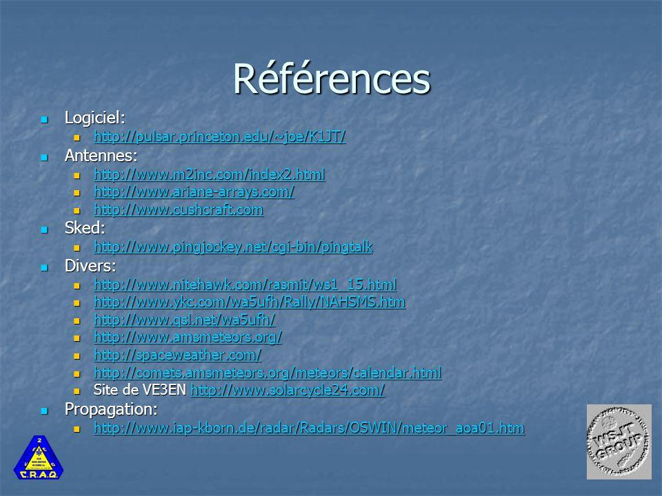 Références Logiciel: Logiciel: http://pulsar.princeton.edu/~joe/K1JT/ http://pulsar.princeton.edu/~joe/K1JT/ http://pulsar.princeton.edu/~joe/K1JT/ Antennes: Antennes: http://www.m2inc.com/index2.html http://www.m2inc.com/index2.html http://www.m2inc.com/index2.html http://www.ariane-arrays.com/ http://www.ariane-arrays.com/ http://www.ariane-arrays.com/ http://www.cushcraft.com http://www.cushcraft.com http://www.cushcraft.com Sked: Sked: http://www.pingjockey.net/cgi-bin/pingtalk http://www.pingjockey.net/cgi-bin/pingtalk http://www.pingjockey.net/cgi-bin/pingtalk Divers: Divers: http://www.nitehawk.com/rasmit/ws1_15.html http://www.nitehawk.com/rasmit/ws1_15.html http://www.nitehawk.com/rasmit/ws1_15.html http://www.ykc.com/wa5ufh/Rally/NAHSMS.htm http://www.ykc.com/wa5ufh/Rally/NAHSMS.htm http://www.ykc.com/wa5ufh/Rally/NAHSMS.htm http://www.qsl.net/wa5ufh/ http://www.qsl.net/wa5ufh/ http://www.qsl.net/wa5ufh/ http://www.amsmeteors.org/ http://www.amsmeteors.org/ http://www.amsmeteors.org/ http://spaceweather.com/ http://spaceweather.com/ http://spaceweather.com/ http://comets.amsmeteors.org/meteors/calendar.html http://comets.amsmeteors.org/meteors/calendar.html http://comets.amsmeteors.org/meteors/calendar.html Site de VE3EN http://www.solarcycle24.com/ Site de VE3EN http://www.solarcycle24.com/http://www.solarcycle24.com/ Propagation: Propagation: http://www.iap-kborn.de/radar/Radars/OSWIN/meteor_aoa01.htm http://www.iap-kborn.de/radar/Radars/OSWIN/meteor_aoa01.htm http://www.iap-kborn.de/radar/Radars/OSWIN/meteor_aoa01.htm