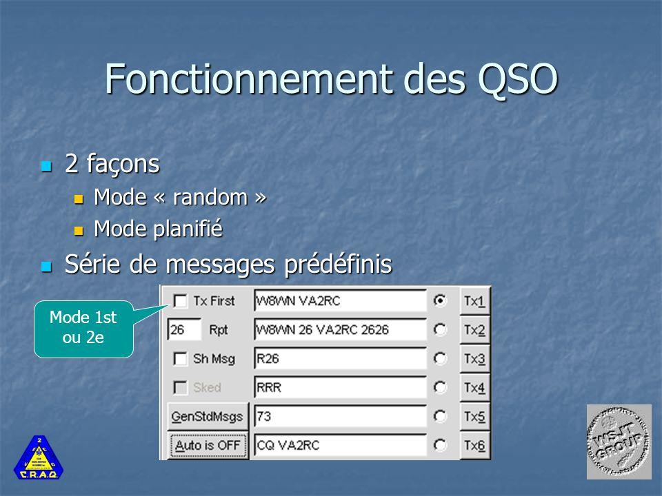 Fonctionnement des QSO 2 façons 2 façons Mode « random » Mode « random » Mode planifié Mode planifié Série de messages prédéfinis Série de messages prédéfinis Mode 1st ou 2e