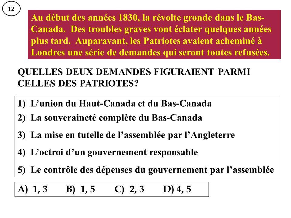 Au début des années 1830, la révolte gronde dans le Bas- Canada. Des troubles graves vont éclater quelques années plus tard. Auparavant, les Patriotes