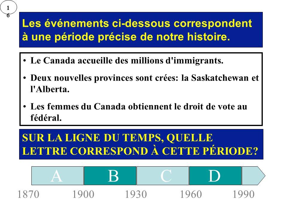 Les événements ci-dessous correspondent à une période précise de notre histoire. Le Canada accueille des millions d'immigrants. Deux nouvelles provinc