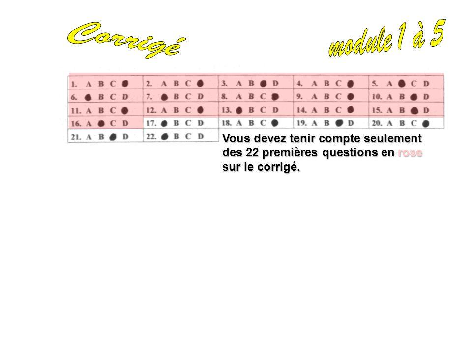 Vous devez tenir compte seulement des 22 premières questions en rose sur le corrigé.