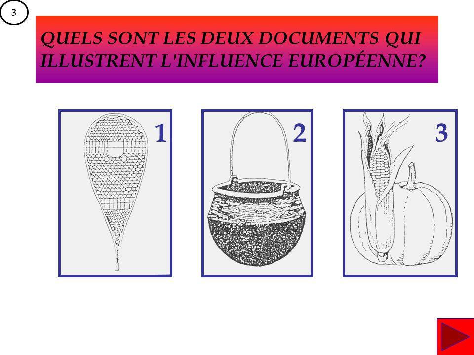 QUELS SONT LES DEUX DOCUMENTS QUI ILLUSTRENT L'INFLUENCE EUROPÉENNE? 123 3