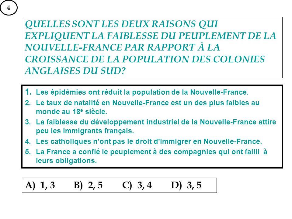 QUELLES SONT LES DEUX RAISONS QUI EXPLIQUENT LA FAIBLESSE DU PEUPLEMENT DE LA NOUVELLE-FRANCE PAR RAPPORT À LA CROISSANCE DE LA POPULATION DES COLONIE