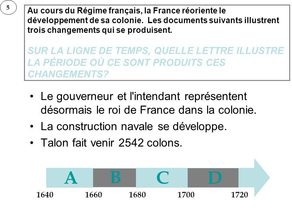 Au cours du Régime français, la France réoriente le développement de sa colonie. Les documents suivants illustrent trois changements qui se produisent