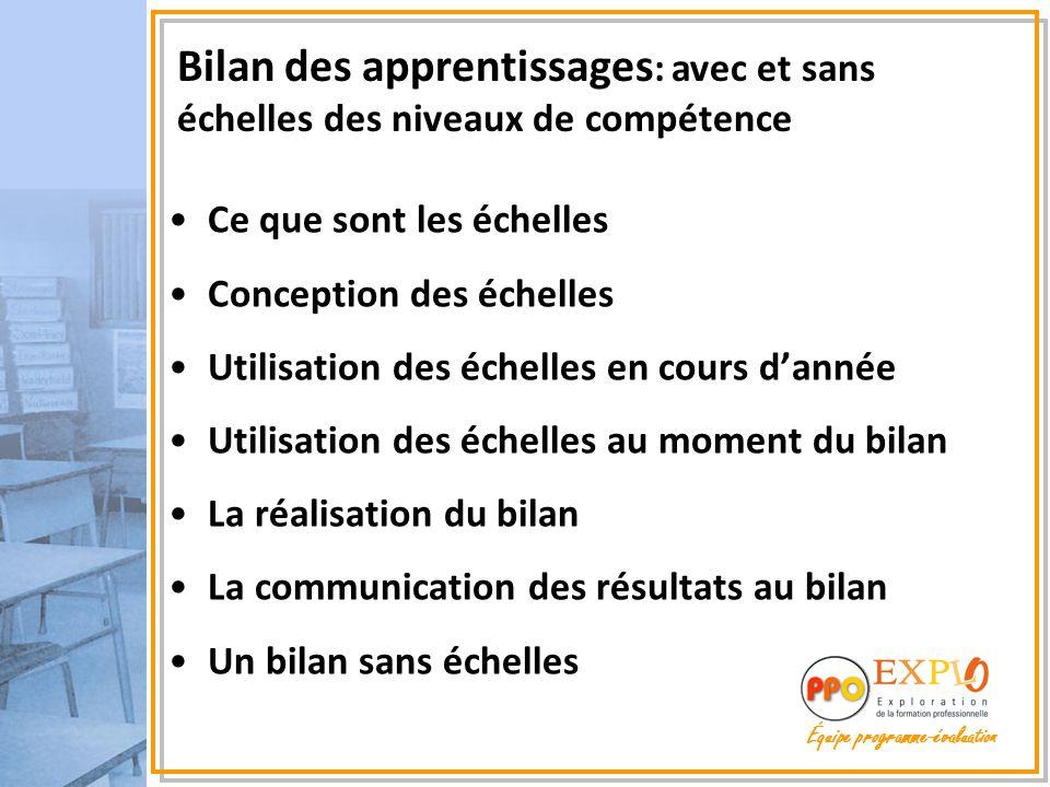 Équipe programme-évaluation Bilan des apprentissages : avec et sans échelles des niveaux de compétence Ce que sont les échelles Conception des échelle