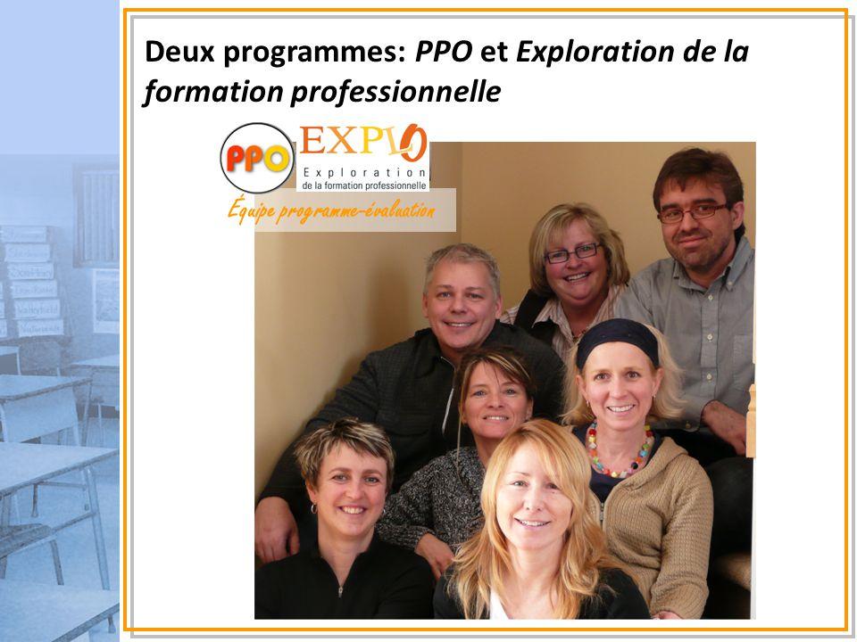 Tour d'horizon de la présentation Deux programmes: PPO et Exploration de la formation professionnelle Développement des compétences, la progression des apprentissages: des balises Bilan des apprentissages, avec et sans échelles des niveaux de compétence Accompagnement et développement de ressources pédagogiques de 2008 à 2010 Équipe programme-évaluation