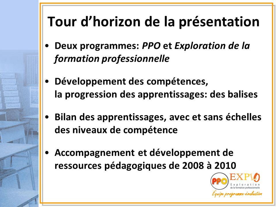 Tour d'horizon de la présentation Deux programmes: PPO et Exploration de la formation professionnelle Développement des compétences, la progression de