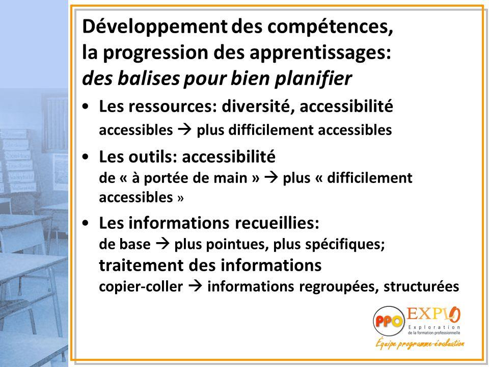 Les ressources: diversité, accessibilité accessibles  plus difficilement accessibles Les outils: accessibilité de « à portée de main »  plus « diffi