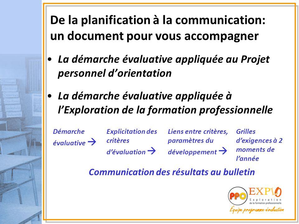 La démarche évaluative appliquée au Projet personnel d'orientation La démarche évaluative appliquée à l'Exploration de la formation professionnelle De