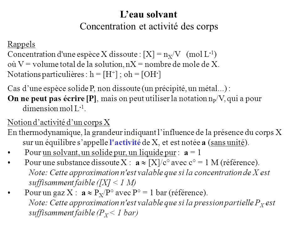 Rappels Concentration d'une espèce X dissoute : [X] = n X /V (mol L -1 ) où V = volume total de la solution, nX = nombre de mole de X. Notations parti