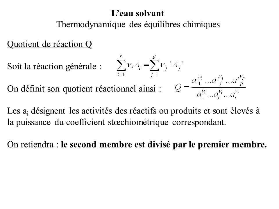 Quotient de réaction Q Soit la réaction générale : On définit son quotient réactionnel ainsi : Les a i désignent les activités des réactifs ou produit