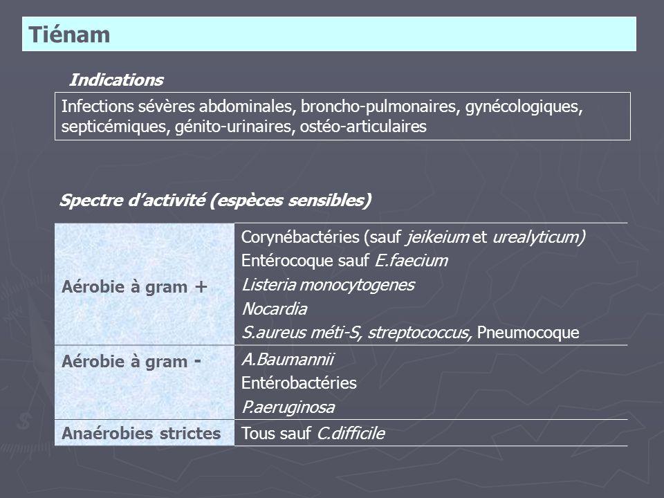 Tiénam Indications Infections sévères abdominales, broncho-pulmonaires, gynécologiques, septicémiques, génito-urinaires, ostéo-articulaires Spectre d'