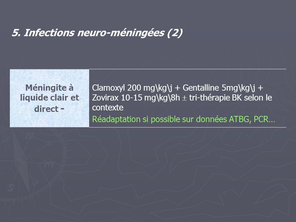 Méningite à liquide clair et direct - Clamoxyl 200 mg\kg\j + Gentalline 5mg\kg\j + Zovirax 10-15 mg\kg\8h  tri-thérapie BK selon le contexte Réadapta
