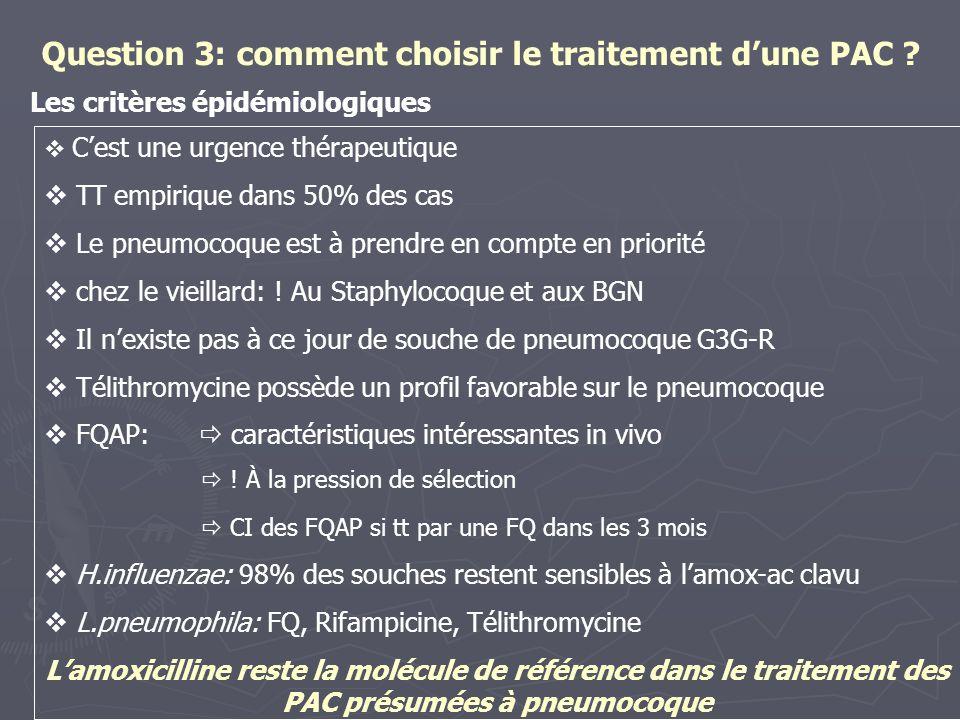 Question 3: comment choisir le traitement d'une PAC ? Les critères épidémiologiques  C'est une urgence thérapeutique  TT empirique dans 50% des cas