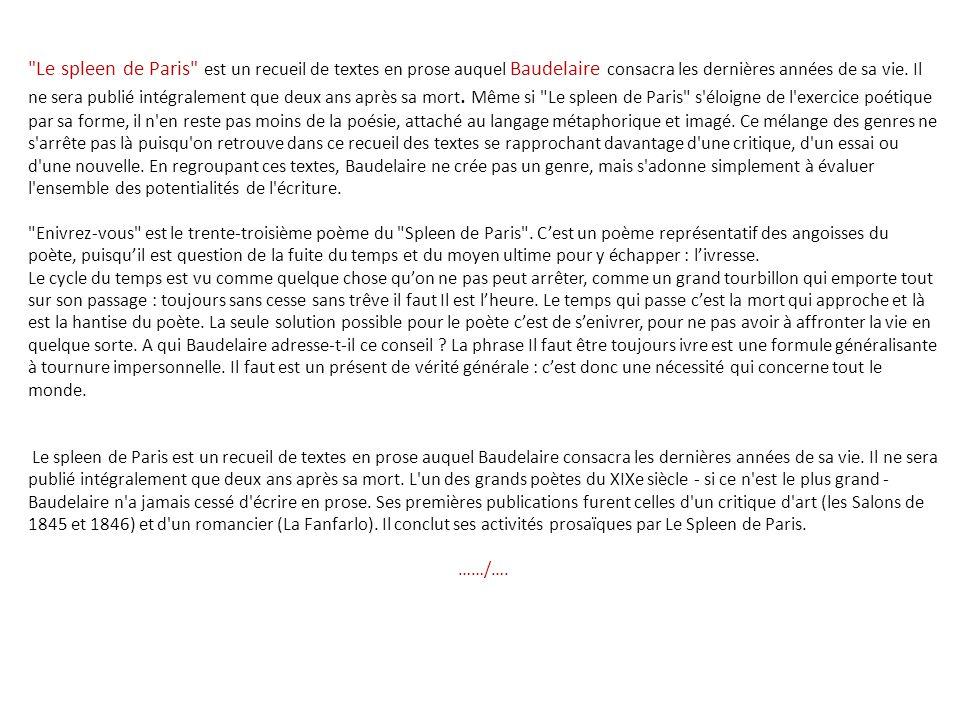 Le spleen de Paris est un recueil de textes en prose auquel Baudelaire consacra les dernières années de sa vie.