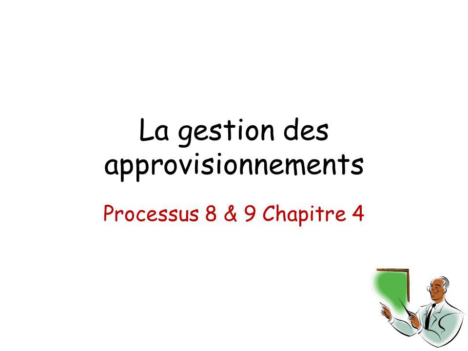 La gestion des approvisionnements Processus 8 & 9 Chapitre 4