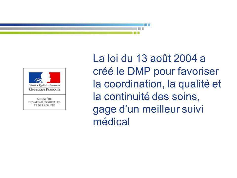 La loi du 13 août 2004 a créé le DMP pour favoriser la coordination, la qualité et la continuité des soins, gage d'un meilleur suivi médical
