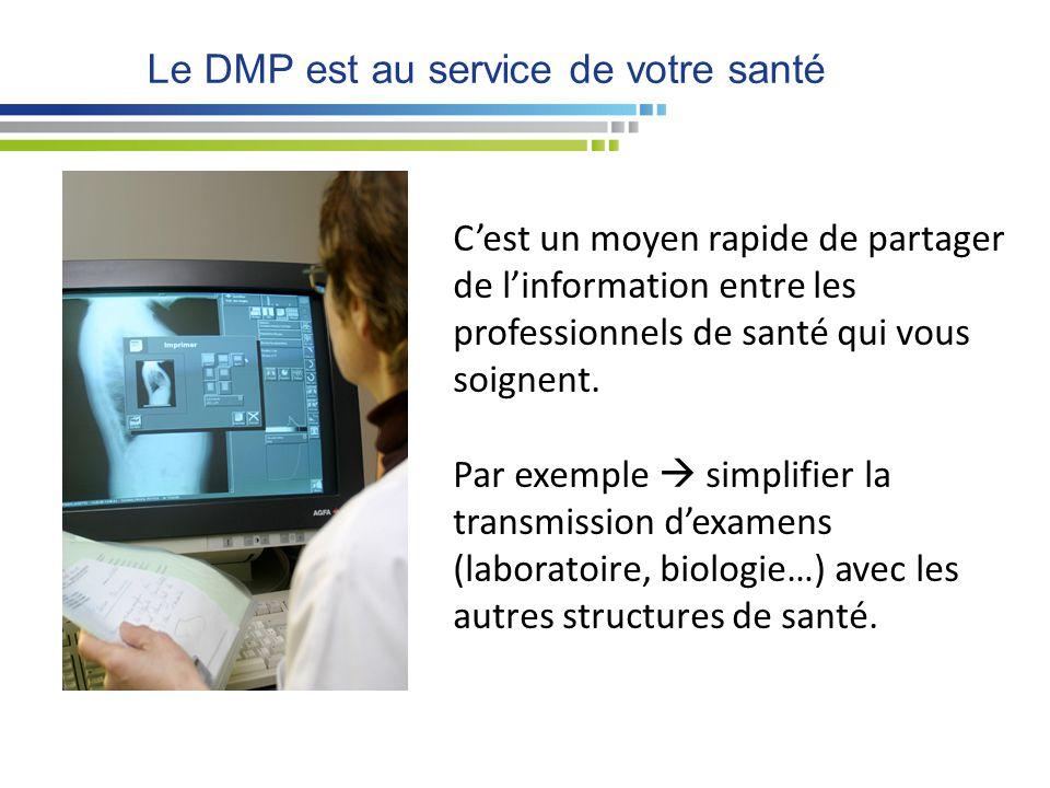 Le DMP est au service de votre santé C'est un moyen rapide de partager de l'information entre les professionnels de santé qui vous soignent. Par exemp