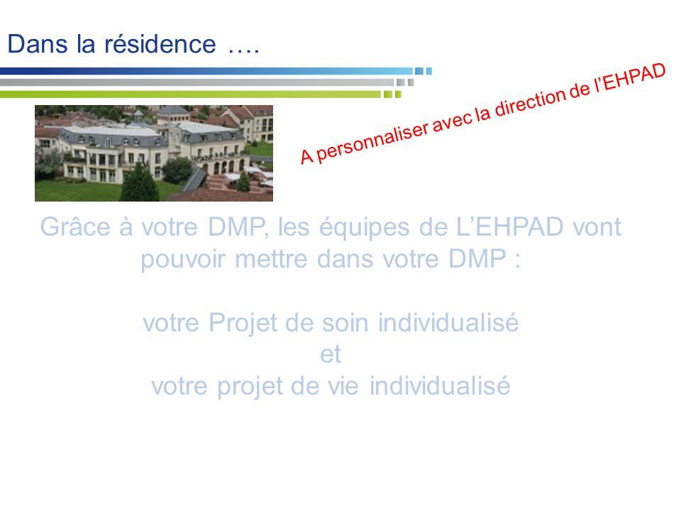 Grâce à votre DMP, les équipes de L'EHPAD vont pouvoir mettre dans votre DMP : votre Projet de soin individualisé et votre projet de vie individualisé Dans la résidence ….