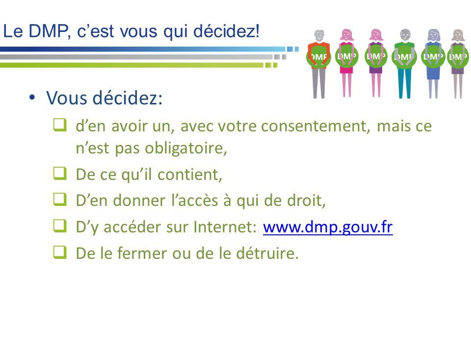 Le DMP, c'est vous qui décidez! Vous décidez:  d'en avoir un, avec votre consentement, mais ce n'est pas obligatoire,  De ce qu'il contient,  D'en