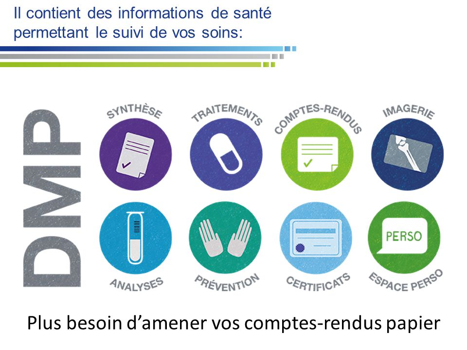 Il contient des informations de santé permettant le suivi de vos soins: Plus besoin d'amener vos comptes-rendus papier