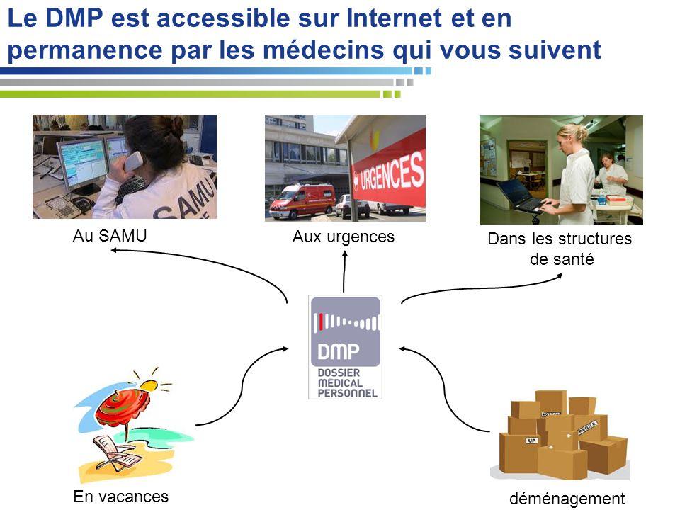 Le DMP est accessible sur Internet et en permanence par les médecins qui vous suivent Aux urgences En vacances déménagement Au SAMU Dans les structure