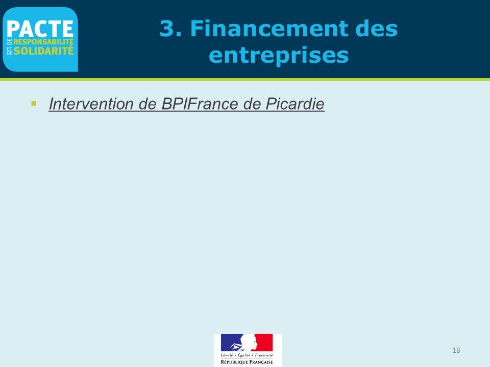 18 3. Financement des entreprises  Intervention de BPIFrance de Picardie