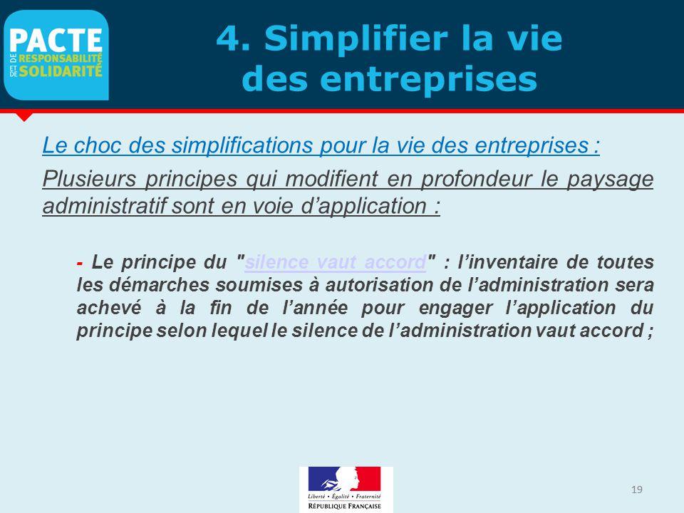 19 4. Simplifier la vie des entreprises Le choc des simplifications pour la vie des entreprises : Plusieurs principes qui modifient en profondeur le p