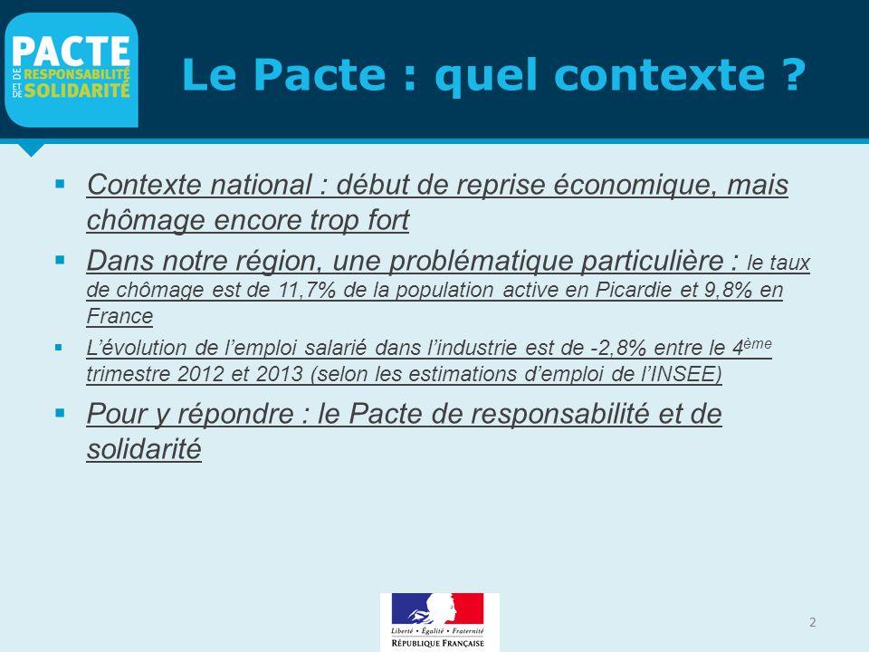 2 Le Pacte : quel contexte ?  Contexte national : début de reprise économique, mais chômage encore trop fort  Dans notre région, une problématique p