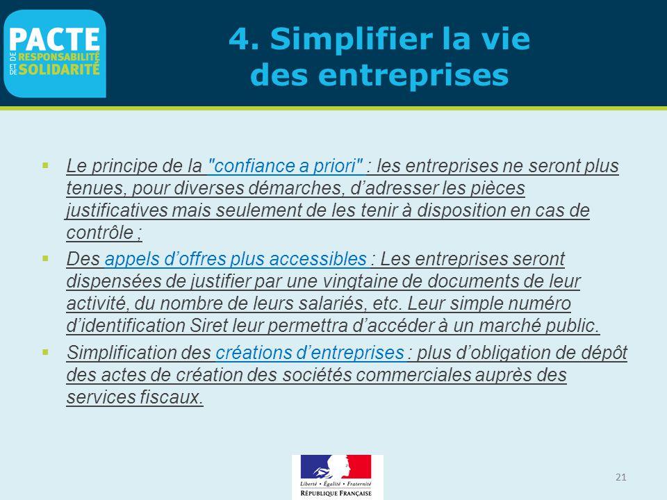 21 4. Simplifier la vie des entreprises  Le principe de la