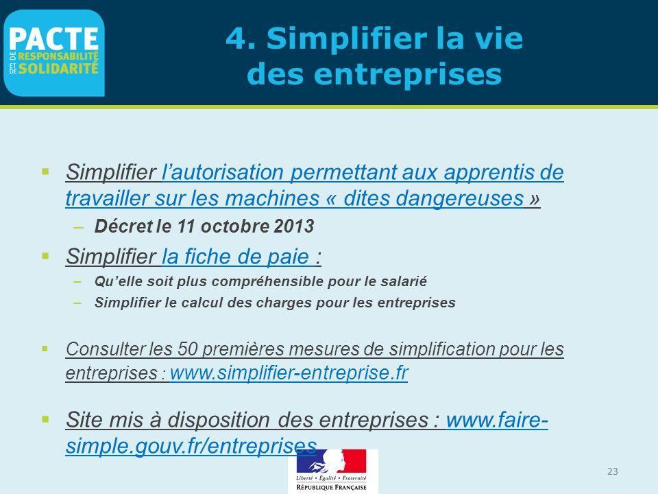 23 4. Simplifier la vie des entreprises  Simplifier l'autorisation permettant aux apprentis de travailler sur les machines « dites dangereuses » –Déc