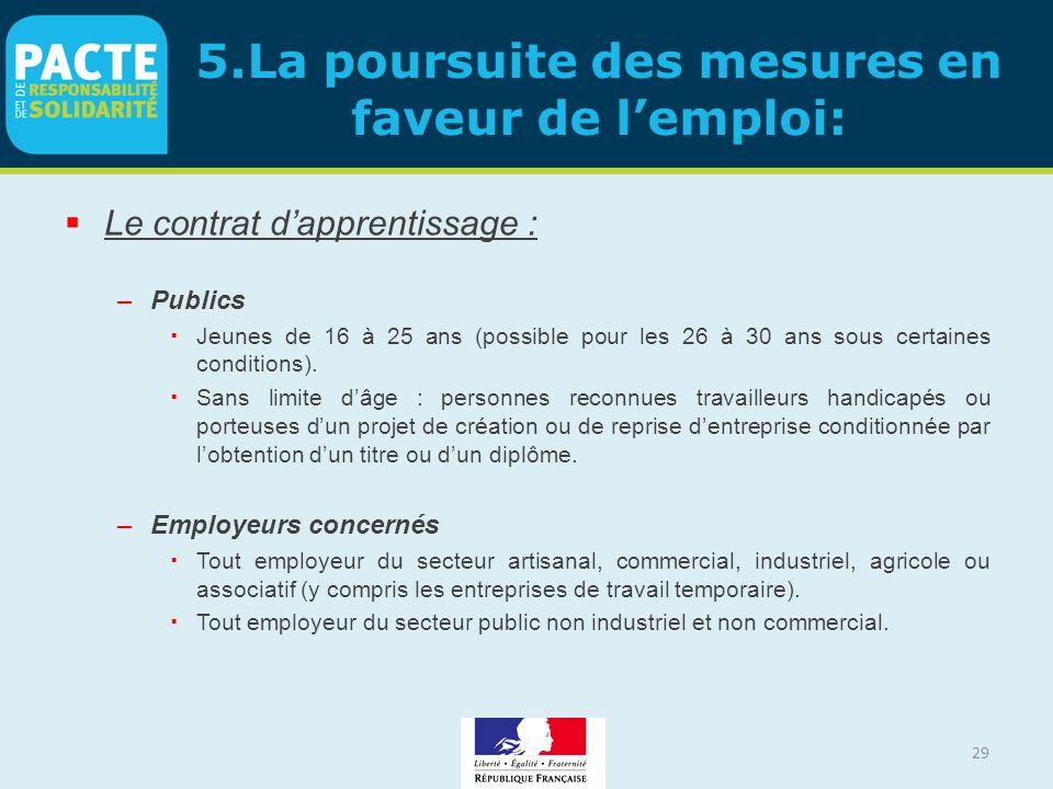 29 5.La poursuite des mesures en faveur de l'emploi:  Le contrat d'apprentissage : –Publics  Jeunes de 16 à 25 ans (possible pour les 26 à 30 ans so