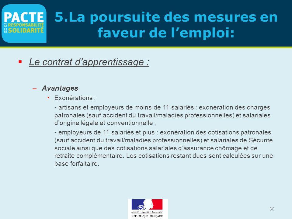 30 5.La poursuite des mesures en faveur de l'emploi:  Le contrat d'apprentissage : –Avantages  Exonérations : - artisans et employeurs de moins de 1