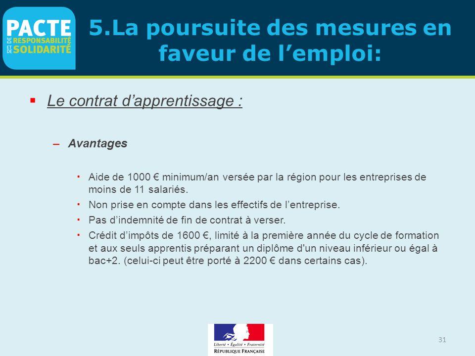 31 5.La poursuite des mesures en faveur de l'emploi:  Le contrat d'apprentissage : –Avantages  Aide de 1000 € minimum/an versée par la région pour l