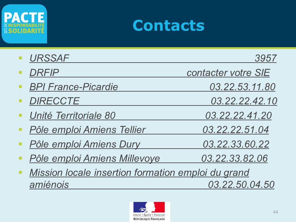 44 Contacts  URSSAF 3957  DRFIP contacter votre SIE  BPI France-Picardie 03.22.53.11.80  DIRECCTE 03.22.22.42.10  Unité Territoriale 80 03.22.22.