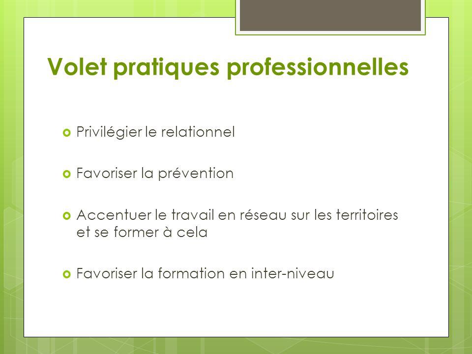 Volet pratiques professionnelles  Privilégier le relationnel  Favoriser la prévention  Accentuer le travail en réseau sur les territoires et se for
