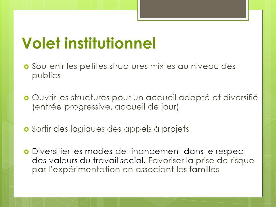 Volet institutionnel  Soutenir les petites structures mixtes au niveau des publics  Ouvrir les structures pour un accueil adapté et diversifié (entr